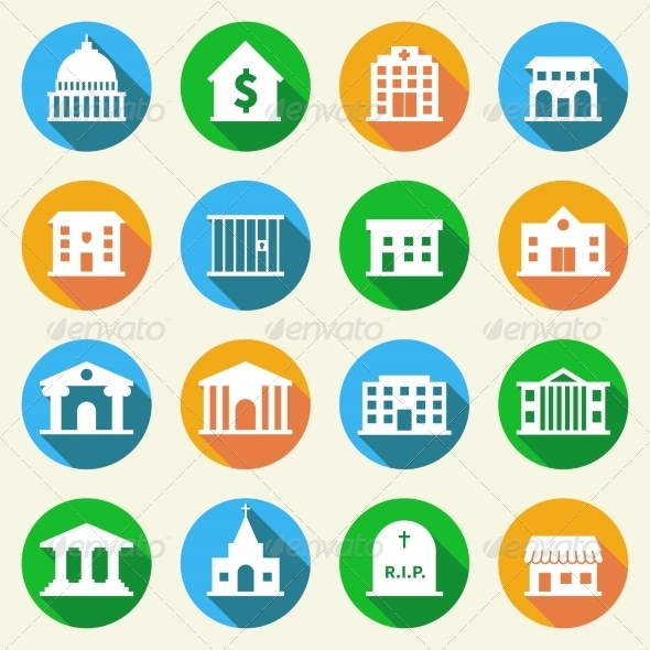 GraphicRiver Government Buildings Icons Flat 7690769
