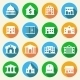 Government Buildings Icons Flat - GraphicRiver Item for Sale