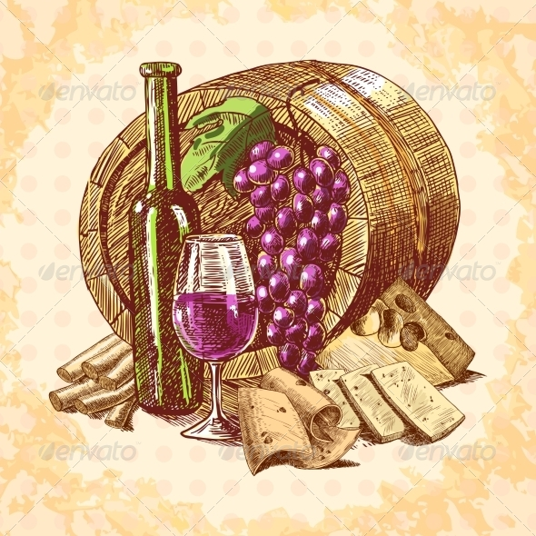 GraphicRiver Wine Cheese Emblem 7690824