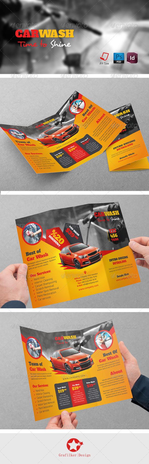 GraphicRiver Car Wash Tri-Fold Templates 7691000
