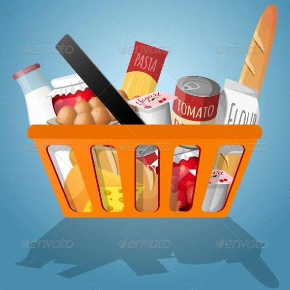 GraphicRiver Food in Shopping Basket 7691082