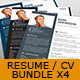 4x Resume / CV - Bundle Pack - GraphicRiver Item for Sale