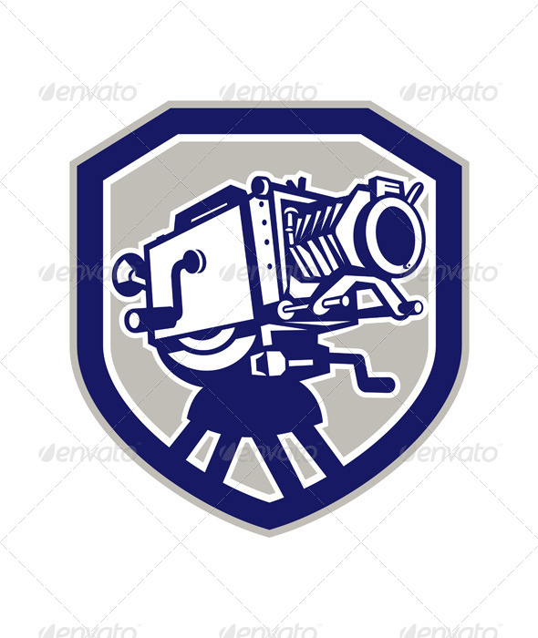 GraphicRiver Movie Film Camera Vintage Shield 7691570