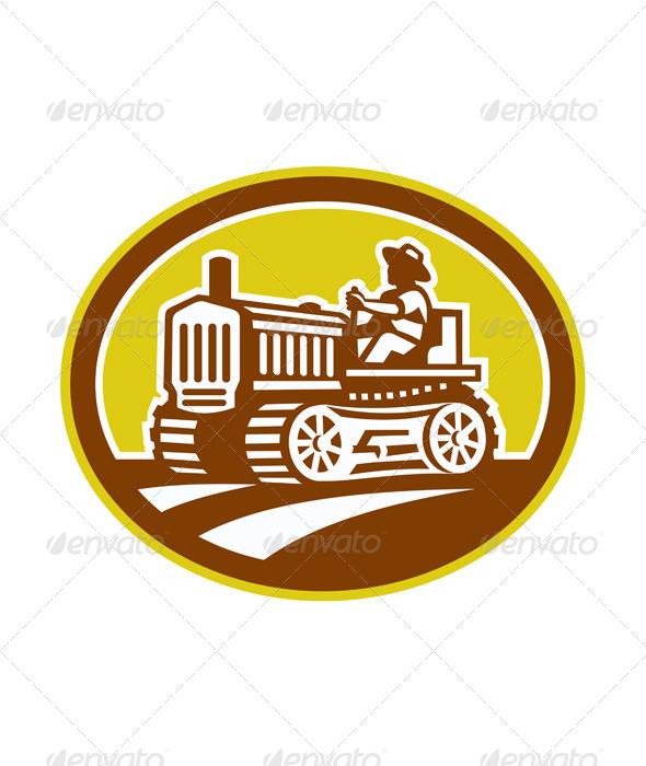 GraphicRiver Farmer Drive Vintage Tractor Oval Retro 7691638