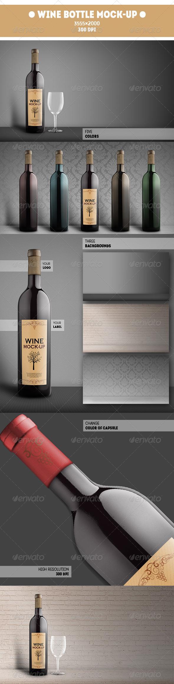 GraphicRiver Wine Bottle Mock-Up 7691648
