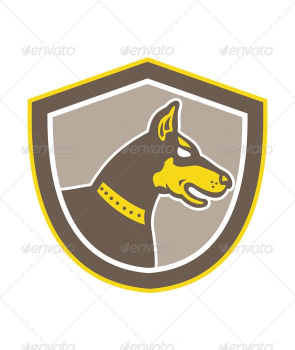 GraphicRiver Doberman Pinscher Head Shield Retro 7691660