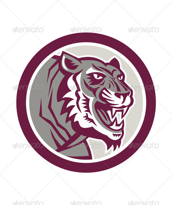 GraphicRiver Tiger Head Growling Side Circle Retro 7691663