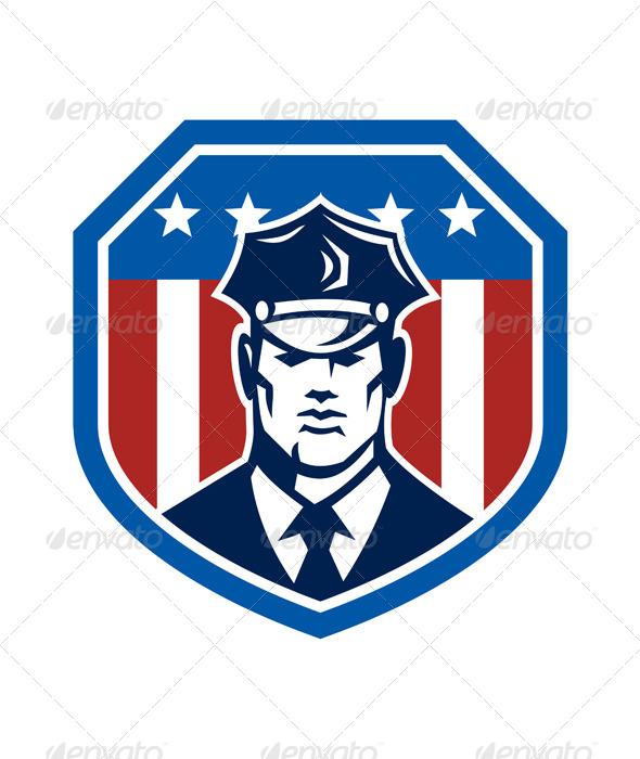 GraphicRiver American Security Guard Flag Shield Retro 7691687