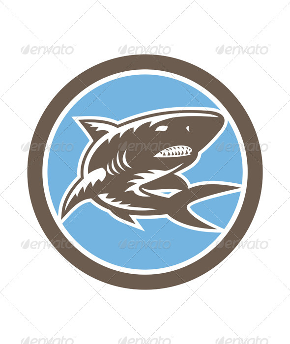 GraphicRiver Shark Swimming Up Woodcut Retro 7691697