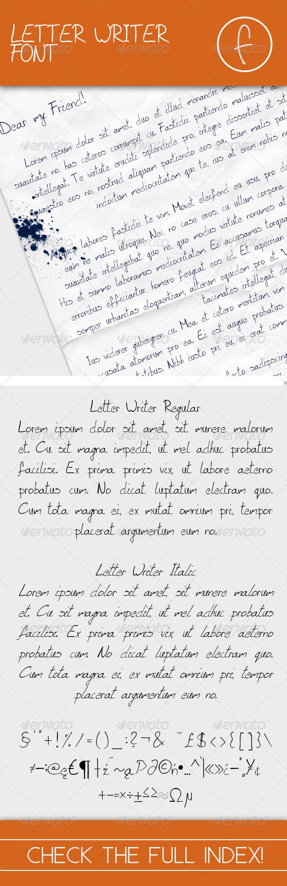 GraphicRiver Letter Writer Font Regular & Italic 7691781