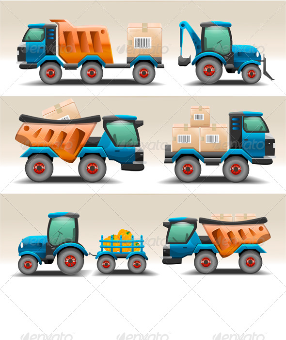 GraphicRiver Set of Trucks and Tractors for Transportation 7691828