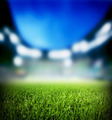 Football, soccer match. Grass close up, lights on the stadium. - PhotoDune Item for Sale