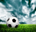 Football, soccer. A leather ball on grass, lawn. - PhotoDune Item for Sale