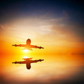 Airplane taking off at sunset. Silhouette of a flying passenger - PhotoDune Item for Sale