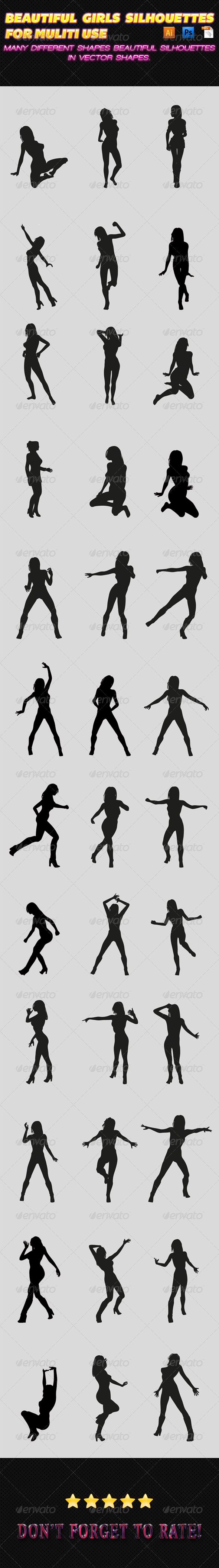 GraphicRiver Girls Silhouettes 02 7692281