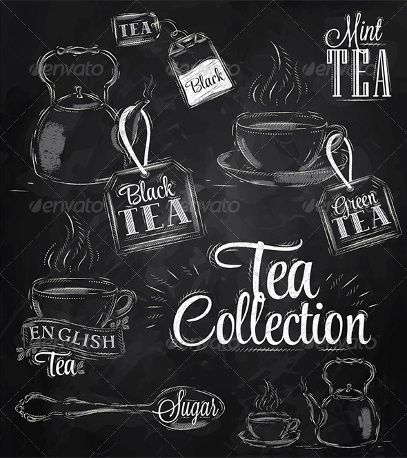 GraphicRiver Tea Chalk Collection 7692577