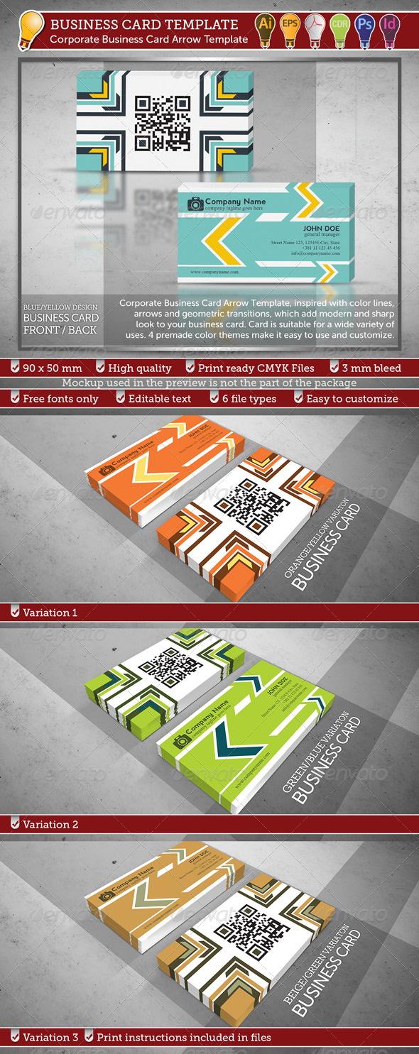 Corporate Business Card Arrow Template - Corporate Business Cards