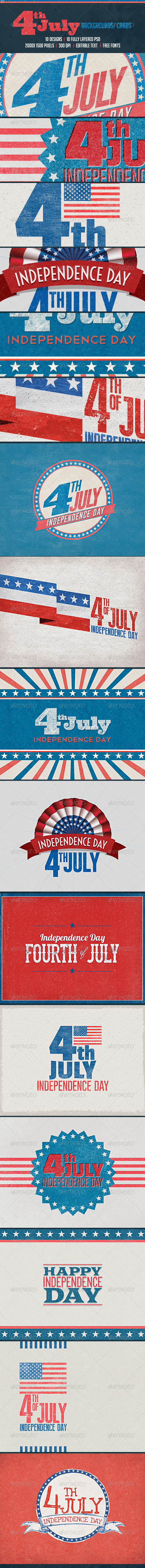 GraphicRiver July 4th Backgrounds Cards 7692977