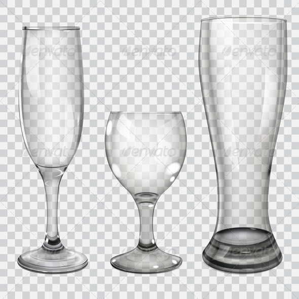 GraphicRiver Set of Transparent Glass Goblets 7693102