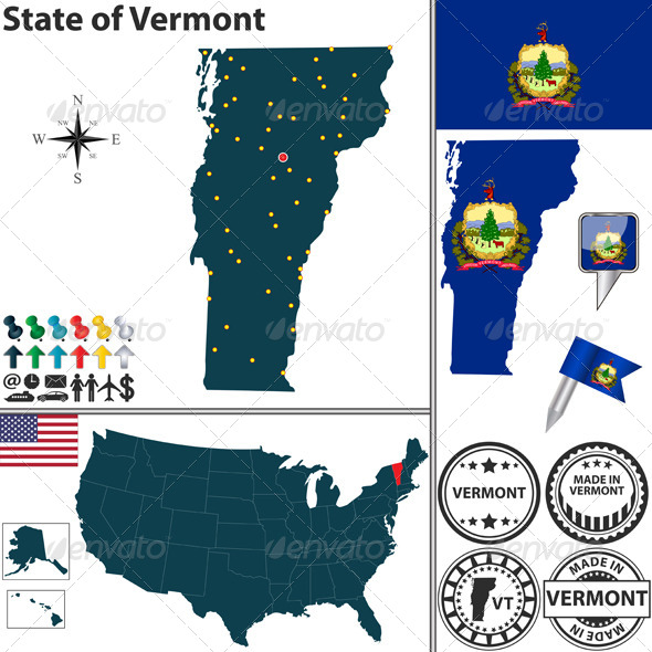 Map of State Vermont USA