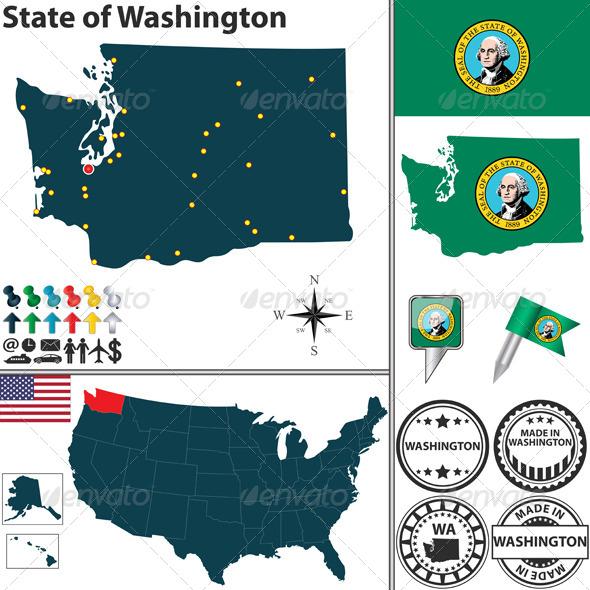 GraphicRiver Map of State Washington USA 7694620