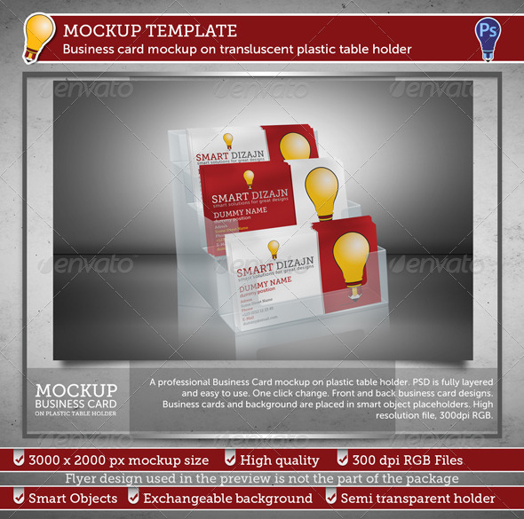 Business Card Mockup on Transluscent Plastic Tablet - Business Cards Print