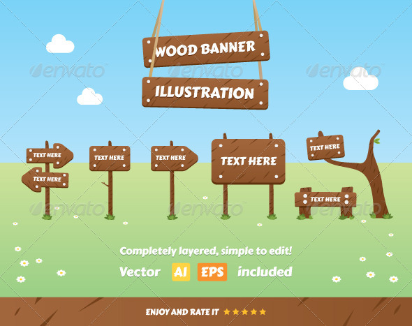 GraphicRiver Wood Banner Illustration 7694956