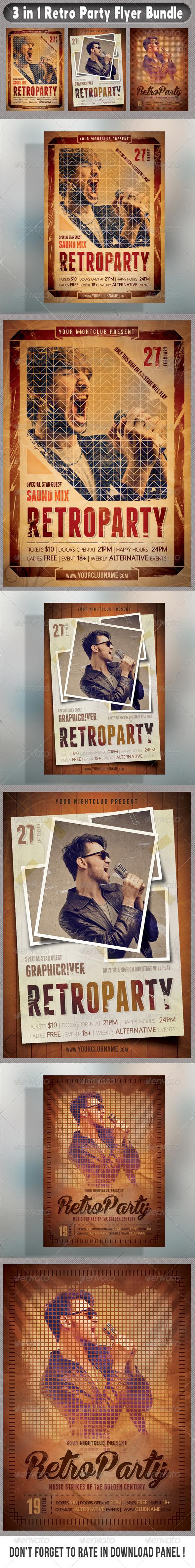 GraphicRiver 3 in 1 Retro Party Flyers Bundle 01 7695699