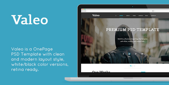 Valeo - Single Page Template PSD Design