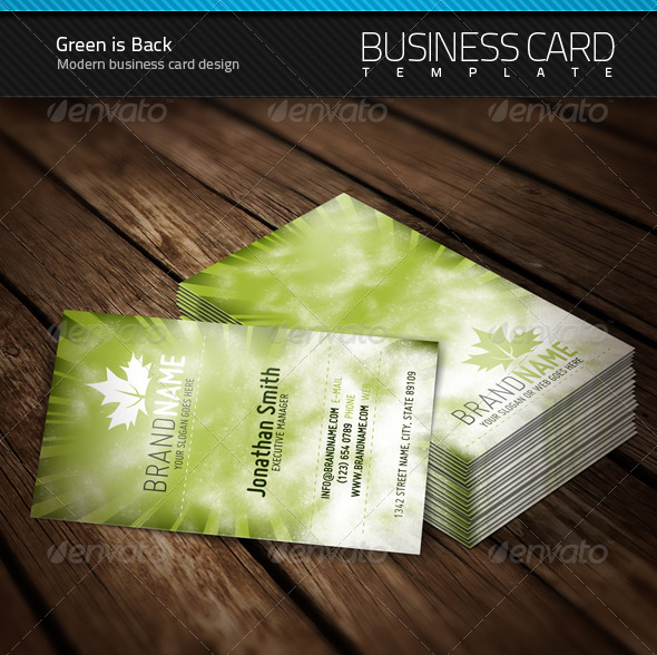 Green is Back Business Card - Creative Business Cards