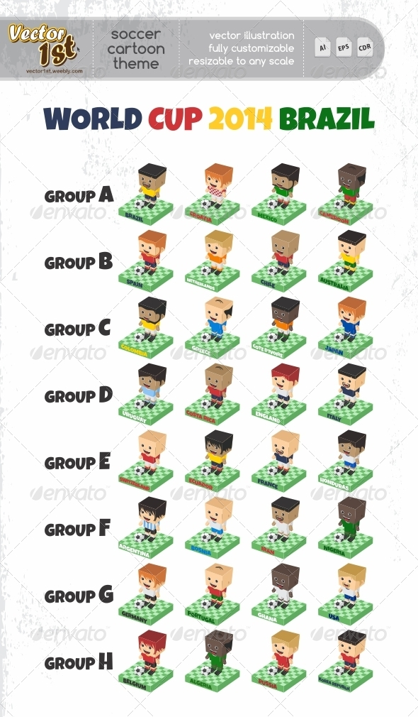GraphicRiver World Cup Soccer Cartoon Character 7696674