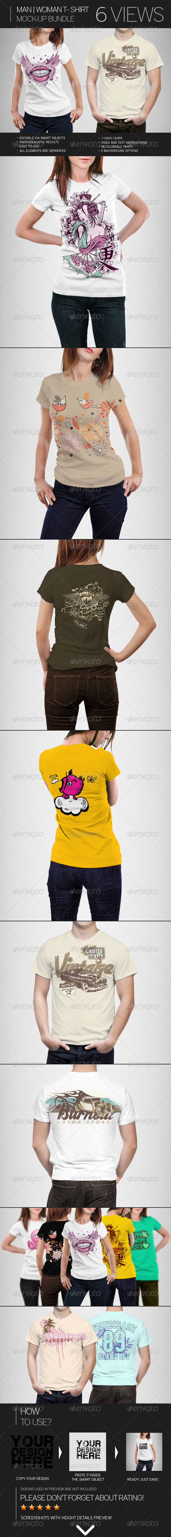 GraphicRiver Man Woman T-Shirt Mock-Up Bundle 7666529