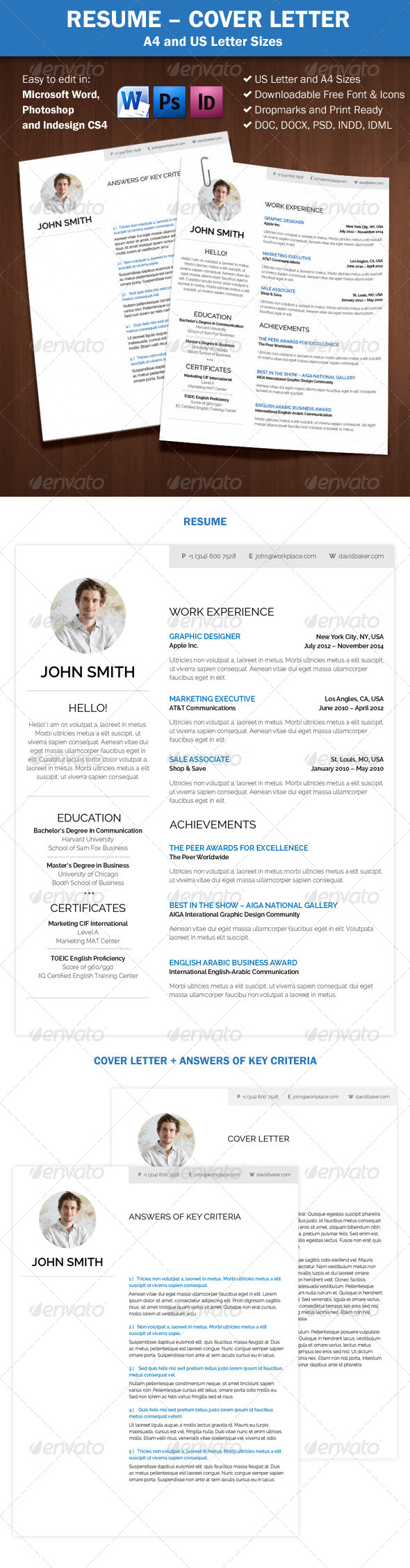 GraphicRiver Resume Cover Letter A4 and Us Letter Sizes 7696935