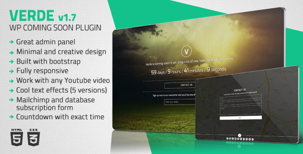Verde - Responsive WordPress Coming Soon Plugin - CodeCanyon Item for Sale