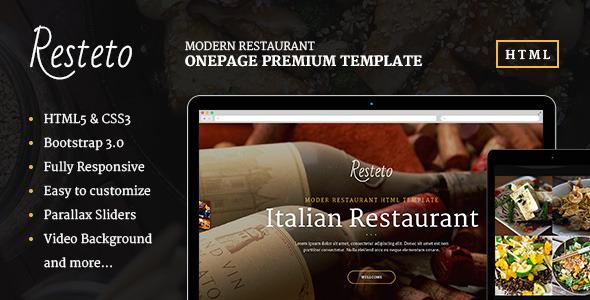 ThemeForest Resteto One-page Restaurant Premium Template 7698095