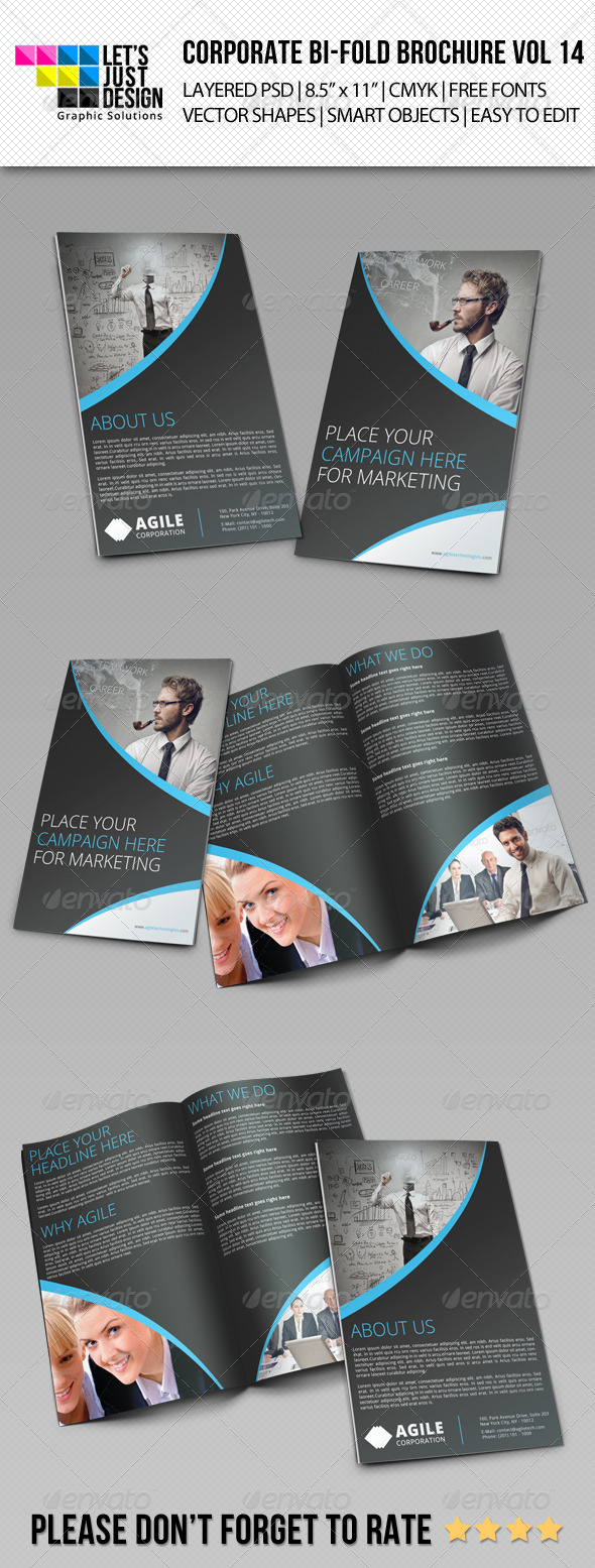 Creative Corporate Bi-Fold Brochure Vol 14 - Corporate Brochures