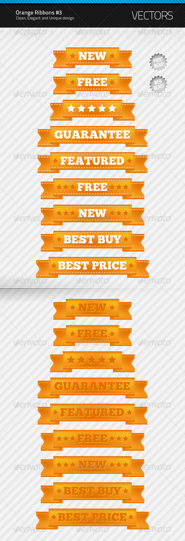 Orange Ribbons #3 - Decorative Vectors