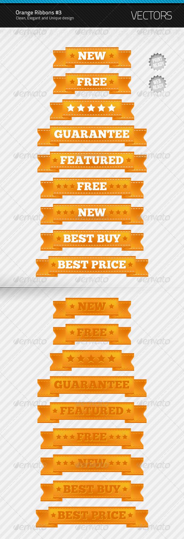 Orange Ribbons #3 - Decorative Vectors