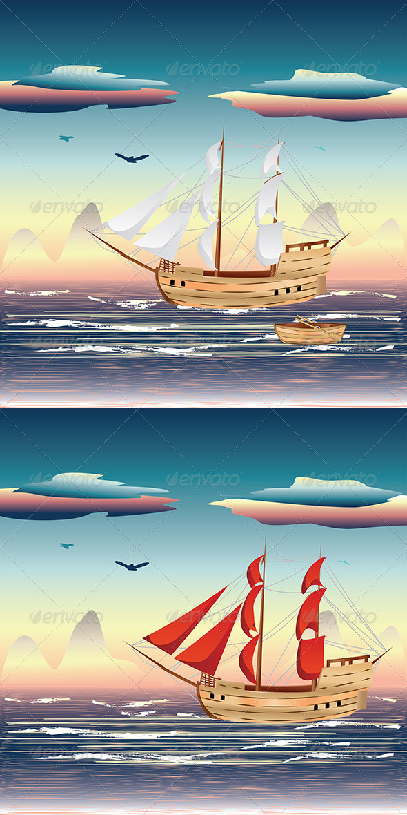 GraphicRiver Sailing Ship on the Sea 7699458