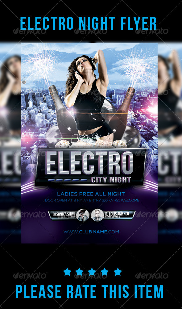 GraphicRiver Electro Night Flyer 7699466