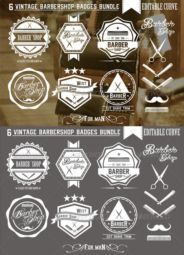 GraphicRiver 6 Vintage Barbershop Badges 7699487