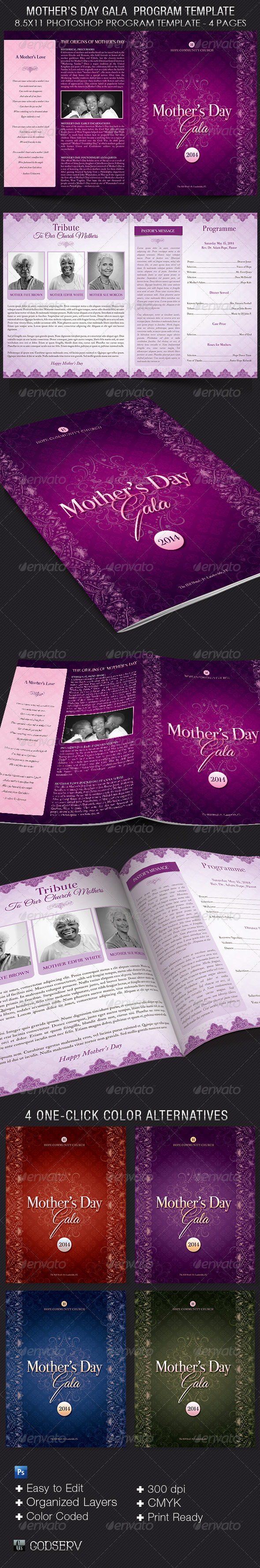 Mother's Day Gala Program Template - Informational Brochures