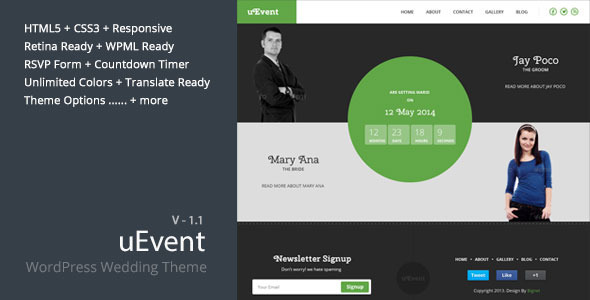 uEvent is a feature-packed WordPress theme that can help you built the best wedding site for you and your couple on top of WordPress platform. It's super