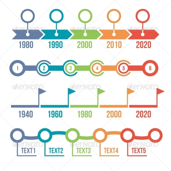 GraphicRiver Colorful Timeline Infographic Set 7699736