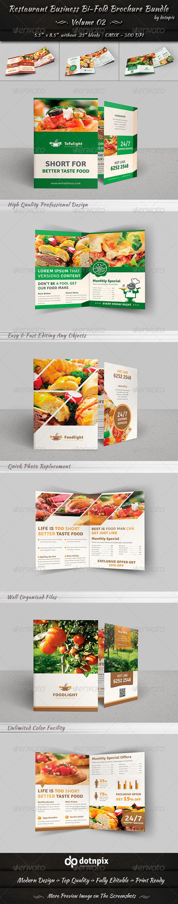 GraphicRiver Restaurant Bi-Fold Brochure Bundle Volume 2 7700124