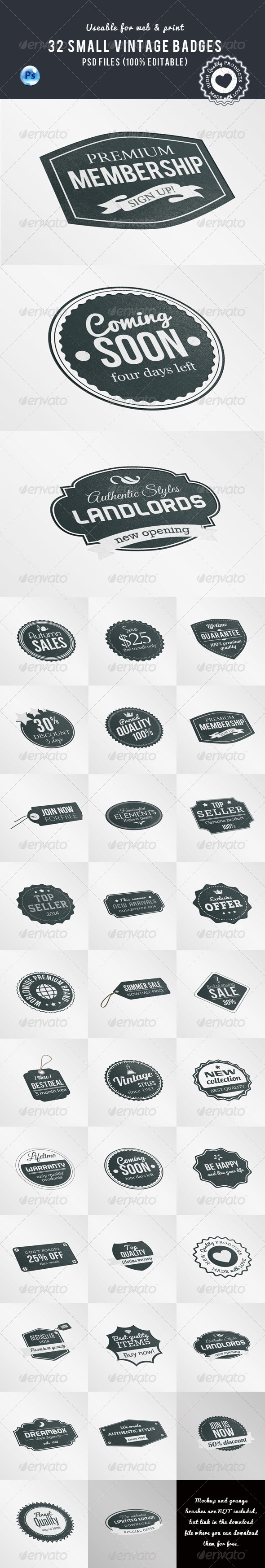 GraphicRiver 32 Small Vintage Badges 7700223