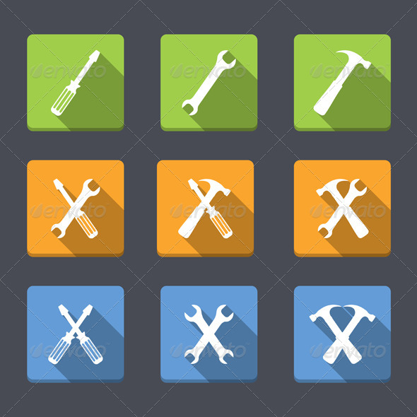 GraphicRiver Flat Tools Icons 7700234