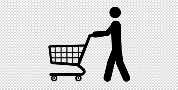 Stick Figure with Shopping Cart by nispo | VideoHive