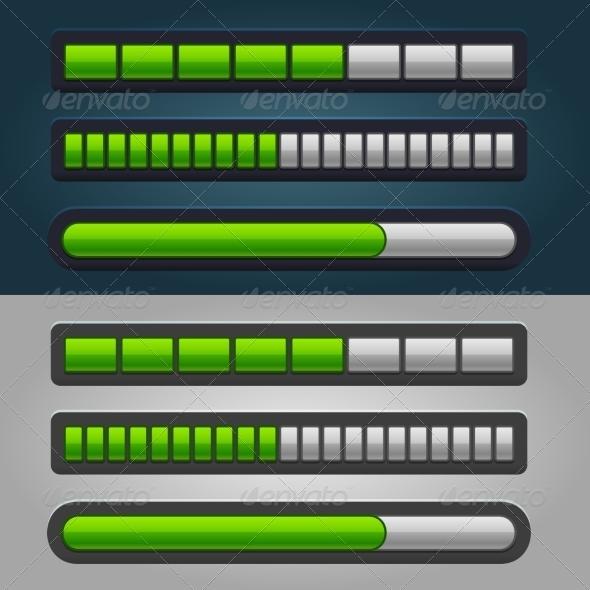 GraphicRiver Green Striped Progress Bar Set 7700460