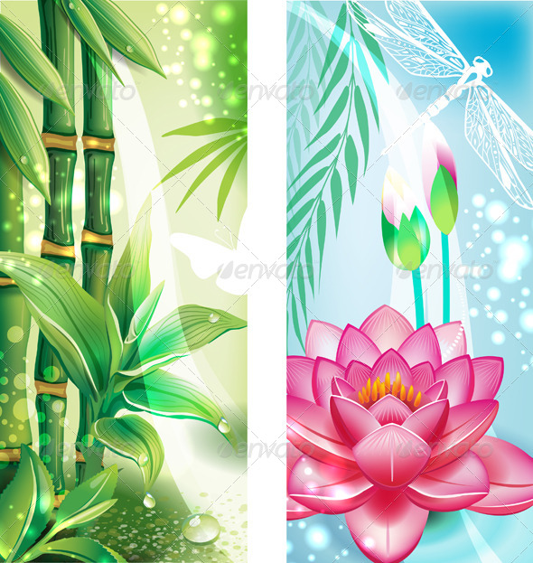 GraphicRiver Vertical Banners with Bamboo and Lotus 7700470